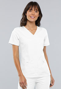 Cherokee V-Neck Knit Panel Top White (2968-WHTS)