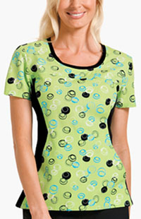 Cherokee Round Neck Knit Panel Top Dots A Doodle (2983-DTSA)