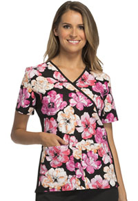 Cherokee Mock Wrap Knit Panel Top Blossoming Beauty (2988C-BBEA)