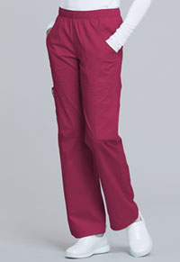 30e1b273ed6 Cherokee Workwear Mid Rise Pull-On Pant Cargo Pant Cerise 4005-CERI. WW  Core Stretch