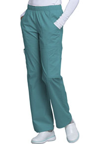 Cherokee Workwear Mid Rise Pull-On Cargo Pant Teal Blue (4005-TLBW)