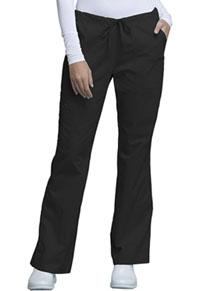 Cherokee Workwear Mid Rise Drawstring Cargo Pant Black (4044-BLKW)