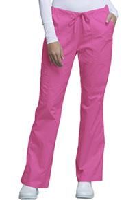 Cherokee Workwear Mid Rise Drawstring Cargo Pant Shocking Pink (4044-SHPW)