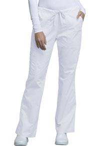 Cherokee Workwear Mid Rise Drawstring Cargo Pant White (4044-WHTW)