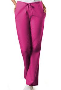 Cherokee Workwear Natural Rise Flare Leg Drawstring Pant Raspberry (4101-RASW)