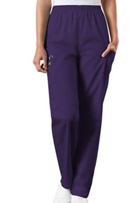 Cherokee Workwear Natural Rise Tapered Pull-On Cargo Pant Eggplant (4200-EGGW)