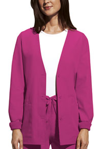 Cherokee Workwear Cardigan Warm-Up Jacket Shocking Pink (4301-SHPW)
