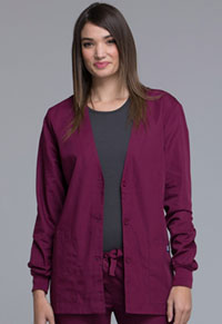 Cherokee Workwear Cardigan Warm-Up Jacket Wine (4301-WINW)