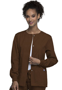 Cherokee Workwear Snap Front Warm-Up Jacket Chocolate (4350-CHCW)