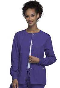 Cherokee Workwear Snap Front Warm-Up Jacket Grape (4350-GRPW)