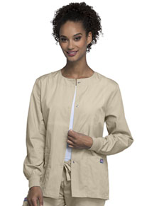 Cherokee Workwear Snap Front Warm-Up Jacket Khaki (4350-KAKW)