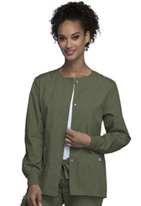 Cherokee Workwear Snap Front Warm-Up Jacket Olive (4350-OLVW)