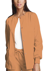 Cherokee Workwear Snap Front Warm-Up Jacket Orange Sorbet (4350-ORSW)