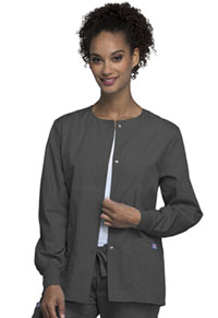 Cherokee Workwear Snap Front Warm-Up Jacket Pewter (4350-PWTW)