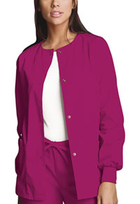 Cherokee Workwear Snap Front Warm-Up Jacket Raspberry (4350-RASW)