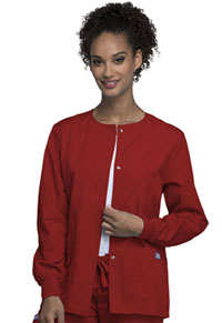 Cherokee Workwear Snap Front Warm-Up Jacket Red (4350-REDW)