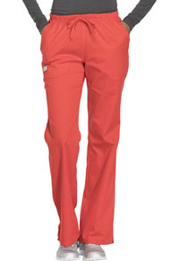 Cherokee Workwear Mid Rise Moderate Flare Drawstring Pant Hot Lava (44101A-HTLW)