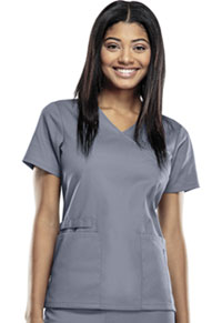Cherokee Workwear Mock Wrap Top Grey (44801A-GRYW)