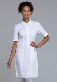 Cherokee Workwear Zip Front Dress White (4501-WHTW)