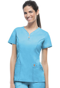 Code Happy V-Neck Top Turquoise (46600A-TQCH)