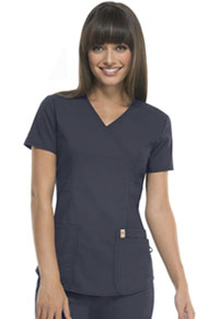 Code Happy Mock Wrap Top Pewter (46601AB-PWCH)