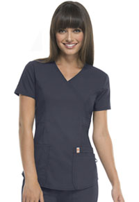 Code Happy Mock Wrap Top Pewter (46601A-PWCH)