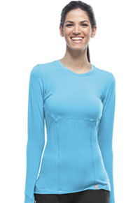 Code Happy Long Sleeve Underscrub Knit Tee Turquoise (46608A-TQCH)