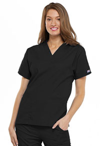 Cherokee Workwear V-Neck Top Black (4700-BLKW)
