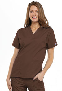 Cherokee Workwear V-Neck Top Chocolate (4700-CHCW)