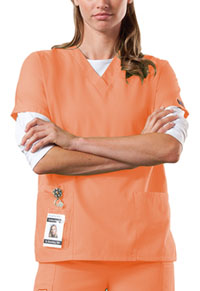 Cherokee Workwear V-Neck Top Orange Sorbet (4700-ORSW)