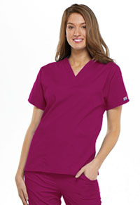 Cherokee Workwear V-Neck Top Raspberry (4700-RASW)