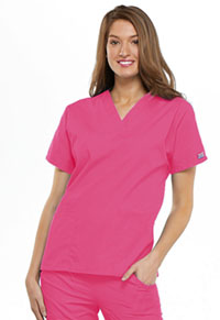 Cherokee Workwear V-Neck Top Shocking Pink (4700-SHPW)
