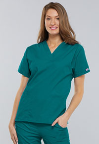 Cherokee Workwear V-Neck Top Teal Blue (4700-TLBW)