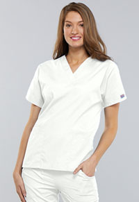 Cherokee Workwear V-Neck Top White (4700-WHTW)