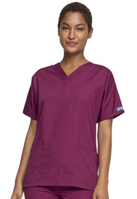 Cherokee Workwear V-Neck Top Wine (4700-WINW)