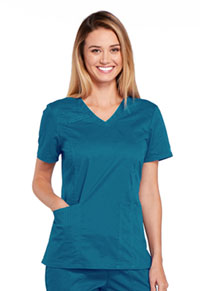 Cherokee Workwear V-Neck Top Caribbean Blue (4710-CARW)