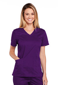Cherokee Workwear V-Neck Top Eggplant (4710-EGGW)
