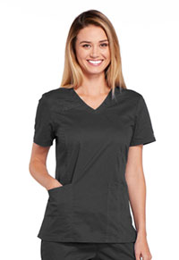Cherokee Workwear V-Neck Top Pewter (4710-PWTW)