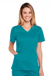 Cherokee Workwear V-Neck Top Teal Blue (4710-TLBW)