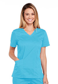 Cherokee Workwear V-Neck Top Turquoise (4710-TRQW)