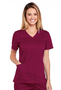 Cherokee Workwear V-Neck Top Wine (4710-WINW)