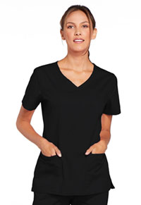 Cherokee Workwear V-Neck Top Black (4727-BLKW)