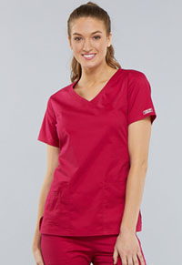 Cherokee Workwear V-Neck Top Cerise (4727-CERI)