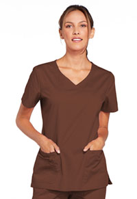 Cherokee Workwear V-Neck Top Chocolate (4727-CHCW)