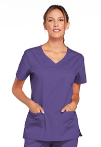 Cherokee Workwear V-Neck Top Grape (4727-GRPW)
