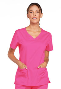 Cherokee Workwear V-Neck Top Shocking Pink (4727-SHPW)