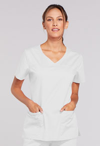 Cherokee Workwear V-Neck Top White (4727-WHTW)