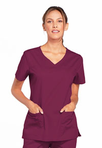 Cherokee Workwear V-Neck Top Wine (4727-WINW)