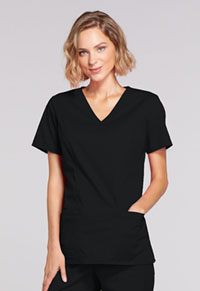 Cherokee Workwear Mock Wrap Top Black (4728-BLKW)
