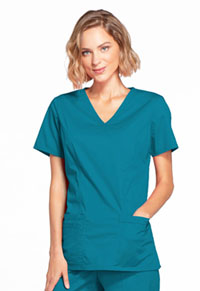 Cherokee Workwear Mock Wrap Top Caribbean Blue (4728-CARW)
